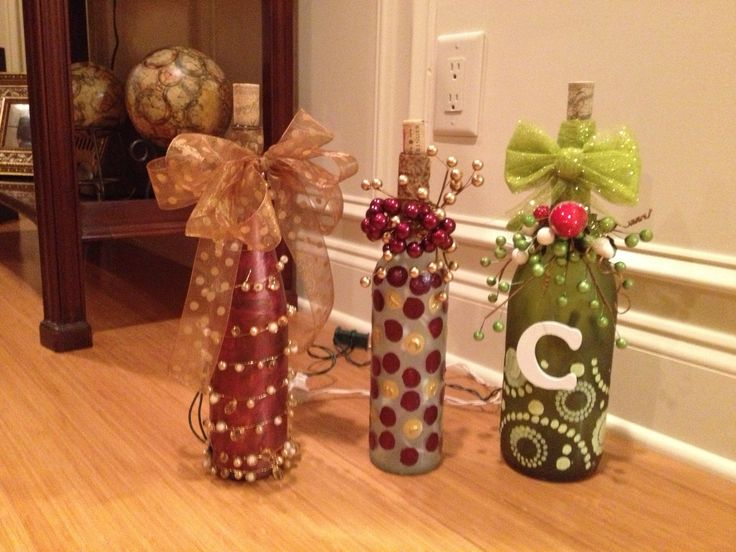 17 Best images about Wrapped & lit Wine bottles on Pinterest Yarns, Wine bottle lamps and ...