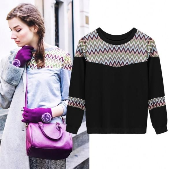 Women O-Neck Long Sleeve Hoodie Geometric Patchwork Casual Sports Pullover Tops Blouse
