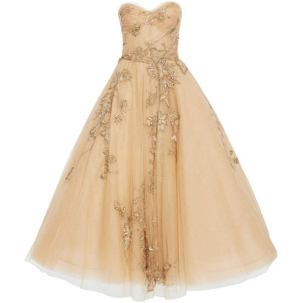 Tea Length Bead Tulle Gown | Moda Operandi ($7,995) ❤ liked on Polyvore featuring dresses, gowns, marchesa, beige evening dress, beige dress, beige gown, marchesa evening dresses and marchesa dresses