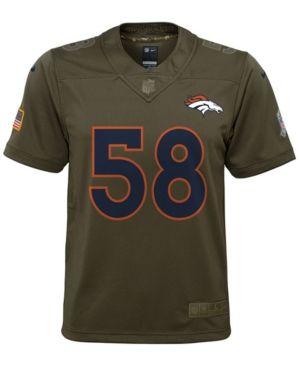 Nike Von Miller Denver Broncos Salute To Service Jersey, Big Boys (8-20) - Green XL