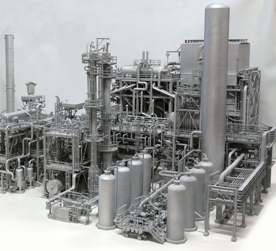 This awe-inspiring 3D print is a scale model of a gas plant in Chile. The real plant was built by Linde AG, and the model was made by i.materialise. It measures 130 cm long by 100 cm wide by 75 cm tall, so it was printed in seven sections, glued together, and spray painted silver.