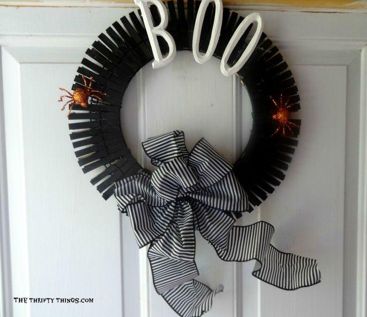 Halloween Clothes Pin Wreath