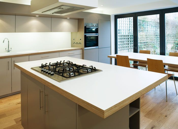 Formica Worktop by Matt Antrobus. Exposed striated ply finish to edge of benchtops.