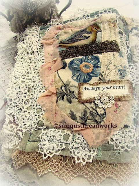 "Suziqu's Threadworks: Bird Fabric Collage Book as a ""Thankyou"" Gift"