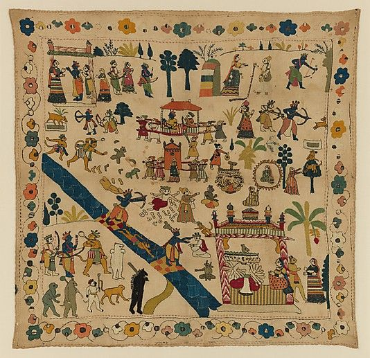 Rumal with Scenes from the Ramayana - 18th century - India (Jammu and Kashmir, Chamba) - Cotton with silk, tinsel, and metal embroidery