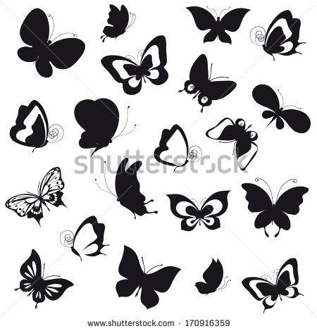 Série de papillons vectorisés pour scrap, coloriage, carterie, plastique dingue...