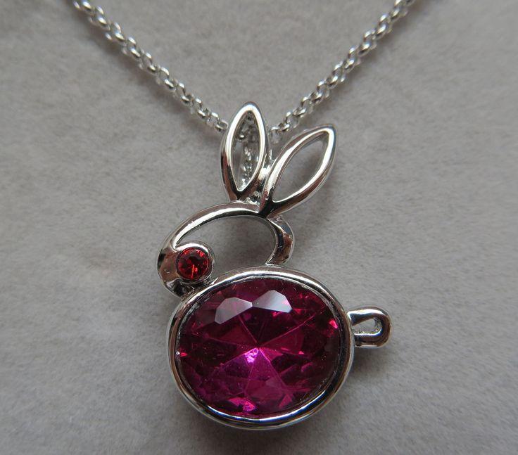 Fuschia Pink Crystal Rabbit Pendant Necklace
