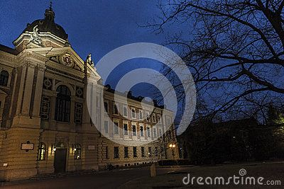 Part of the  historic Building of University of Economics on Rakowcka street in Krakow at the night, Poland.