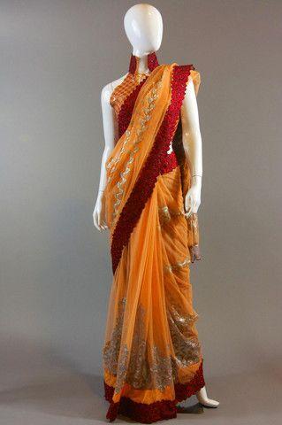 Orange Maroon Border Net Saree