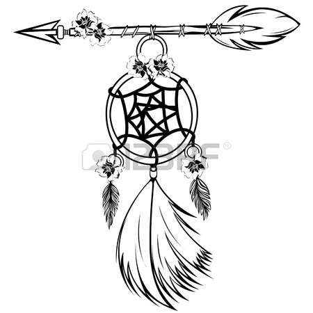 Vector of dream catcher with feathers and arrow in boho style