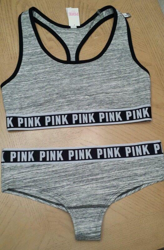 Victorias Secret Fashion Show PINK Logo Sports Bra & Panty Set Size L Gray Marl #VictoriasSecret #SportsBras