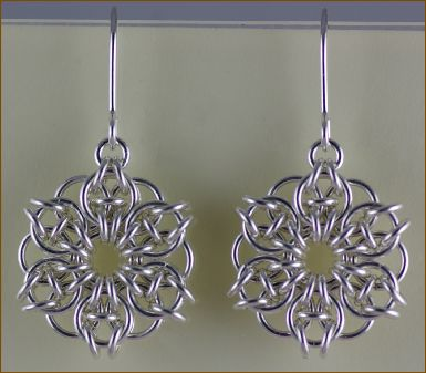 the dragonfly company: celtic mandala silver chain maille earring kit £21