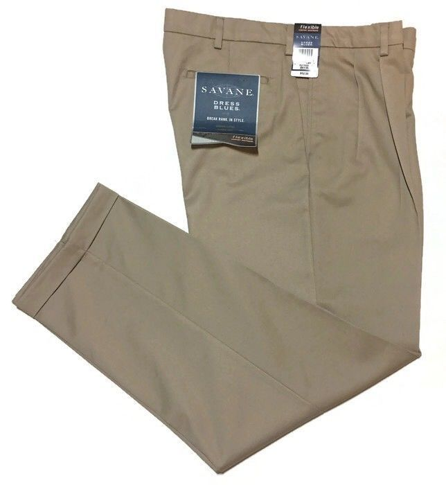 Savane Pants Comfort Flexible Waist 38 x 32 Pleated Cuffs Khaki Wrinkle Free New    eBay