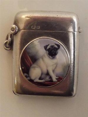1919 HM SILVER & ENAMEL VESTA CASE - PUG DOG PORTRAIT