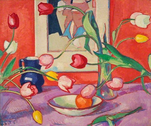 Tulips – The Blue Jug c.1919 by S.J.Peploe