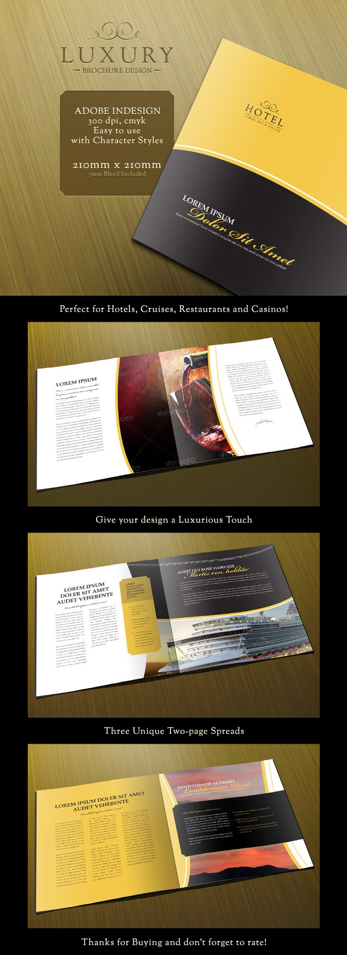 Luxury Brochure Template Is A High Quality Indesign Brochure Template With  A Sleek Look And Feel Which Is Perfect For Hotels, Cruises, Casinos And  Other ...