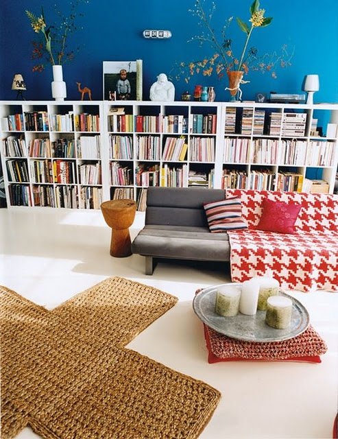 blue walls  and books