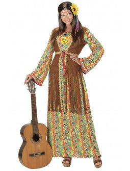 Disfraz de Hippie con chaleco largo