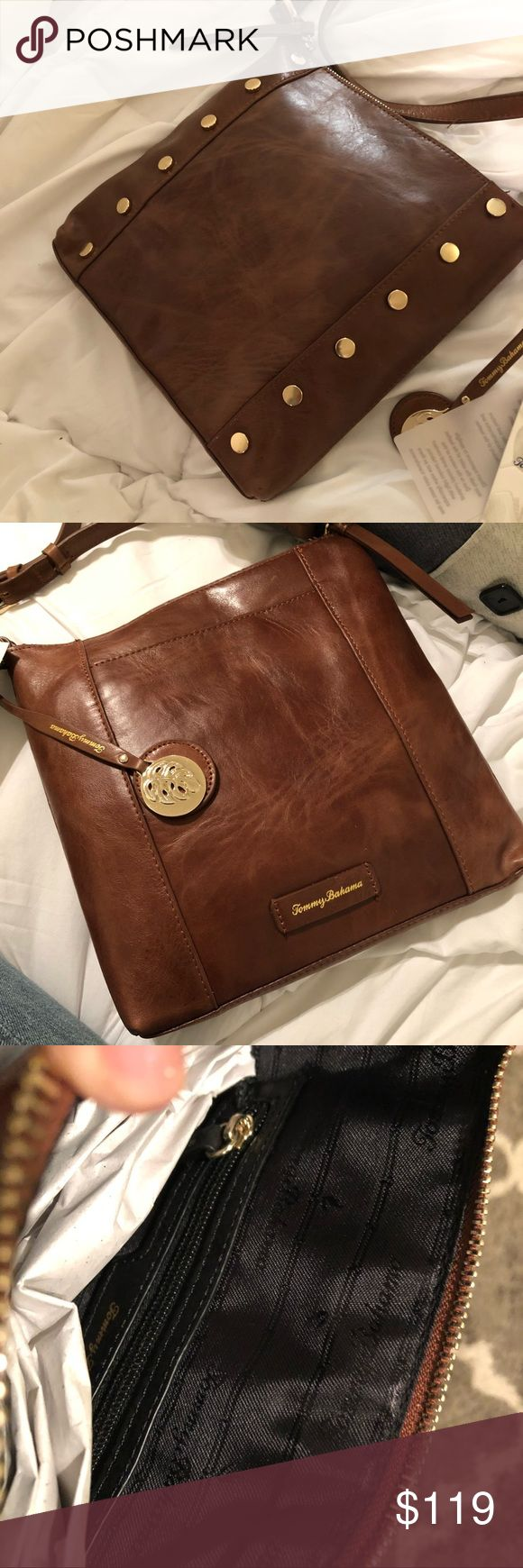 Tommy Bahama Leather Crossbody Bag!? Looks amazing coming and going!  Gleaming studs lend edgy chic appeal to this Stunning burnished deep whiskey/...