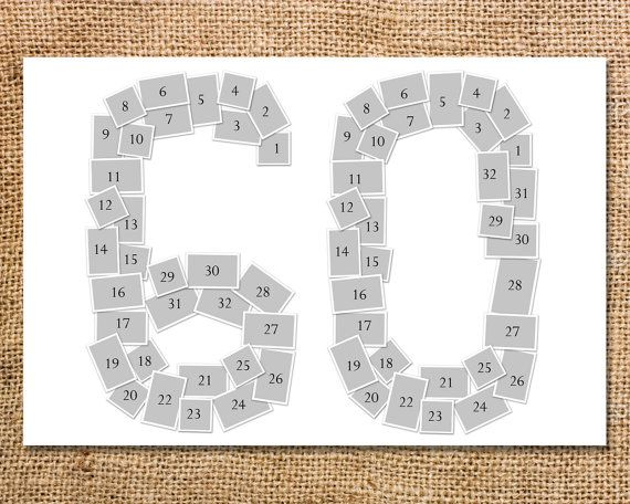 Double Digit Number Photo Collage Printable 60 70 80 90