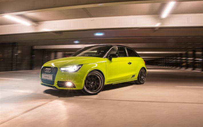 Download wallpapers ABT, tuning, Audi A1, 2017 cars, compact cars, yellow A1, Audi
