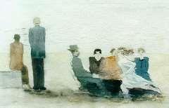 Oepts W.A., Figuren op het strand, aquarel op papier 21,5 x 29,5 cm.