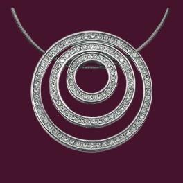 """Collier """"Triple Cercles"""", 5 aimants, acier et zirconiums, 145€"""