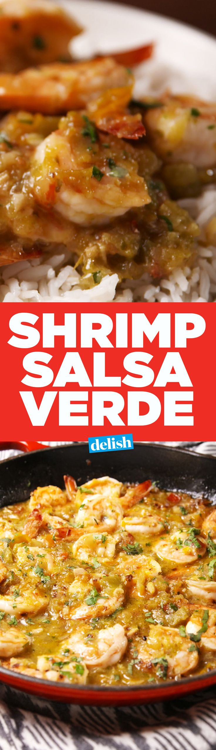 This Salsa Verde Shrimp is one of the most delish dinners to come out of the Delish kitchen. Get the recipe on Delish.com.