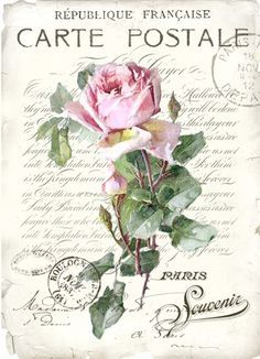 Carte postale vintage rose Digital collage P1022 for personal use only