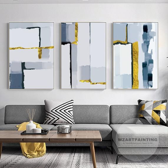 Set Of 3 Modern Abstract Gold Navy Blue Print Painting Prints On Canvas Luxury Wall Art Picture Ready To Hang For Blue Wall Art Large Wall Art Modern Wall Art