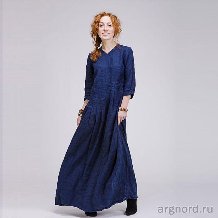 Длинное льняное платье в стиле бохо (цвет индиго) - Арт. М4/7 - Кайрос (рис. 2)