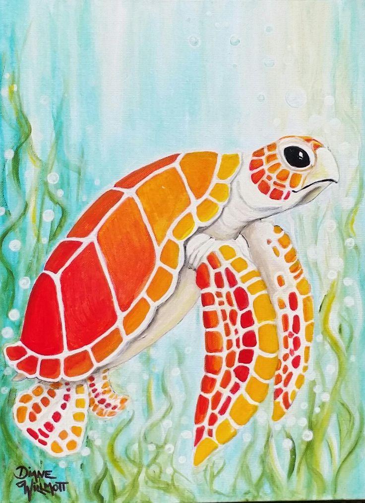 Sea turtle, acrylic painting