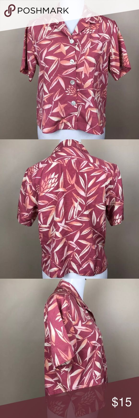 Tommy Bahama Silk Boxy Cut Button down - Sz XS Brand: Tommy Bahama   Size: Extra small ( XS )   Measurements: see photos   Condition: very good. Light overall wear - tag has a mark through it   Color(s): varying shades of pink in a Hawaiian Pattern   100% silk  ----    I do have a dog who sheds. I lint roll prior to shipping, but it is good to be aware Tommy Bahama Tops Button Down Shirts