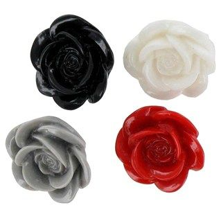 Sew-Ology 19mm Red, Black, Gray & White Rose Buttons with ...