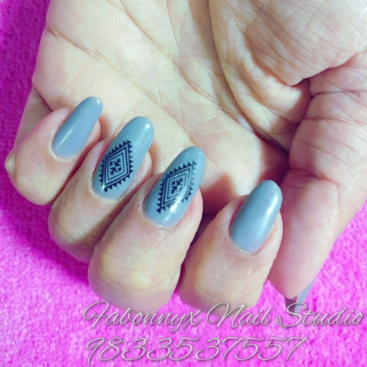 41 best nail art designs images on pinterest nail art designs gel overlays with matt grey and tribal nail art stick on oval natural nails prinsesfo Images