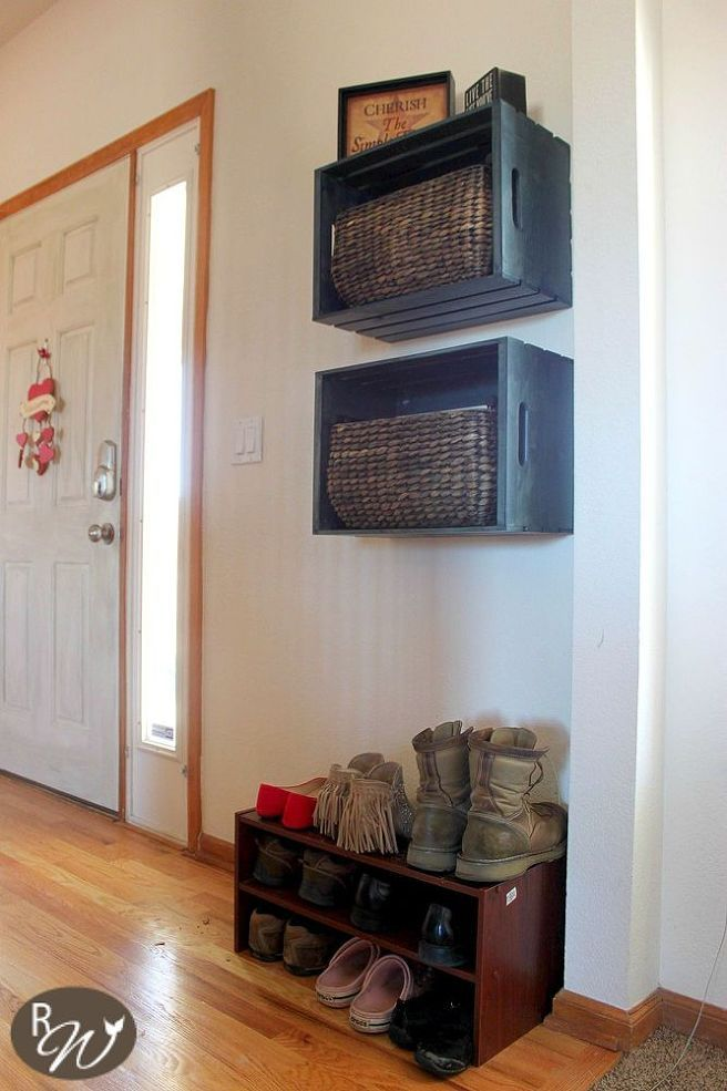 Hometalk :: DIY Mudroom Storage Crates Use inexpensive baskets and crates from Michaels