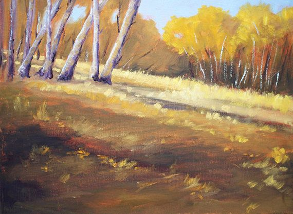 Birch Trees Landscape, Oil Painting, Autumn, Fall, Original, 11x14, Gallery Canvas, Wall Decor, Brown, Gold, Yellow on Etsy, $300.00