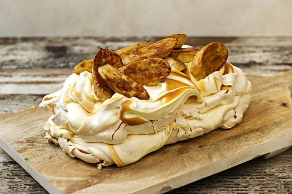 Salted Brandy Caramel and Lady Finger Banana Pavlova - Maggie Beer