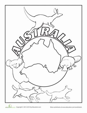 Color this Australia coloring page! Australia is more than just a continent, it's also a country and home to a unique culture and a range of wildlife.