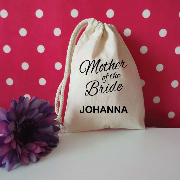 Custom Mother Of The Bride Gift Bag. Custom Drawstring Pouch. Wedding Favour. Personalised Gift Bag. Wedding Gift. Mother Of the Bride Bag. by SoPinkUK on Etsy
