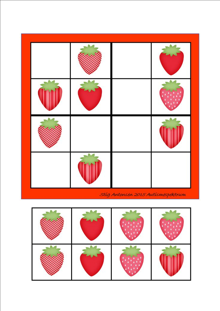 Simple sudoku strawberries - cut and paste.  By Autismespektrum