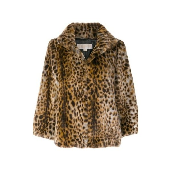 MICHAEL - MICHAEL KORS Leopard Print Artificial Fur Jacket ($404) ❤ liked on Polyvore featuring outerwear, jackets, animalier, standing collar jacket, faux-leather jackets, brown fur jacket, synthetic jacket and michael michael kors jacket
