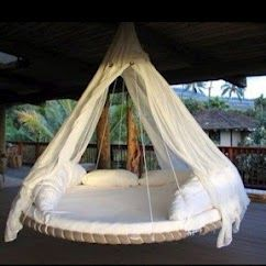 A recycled trampoline to make a cool hammock type thing! Love this!! Now I just need to see if I can find an old trampoline.