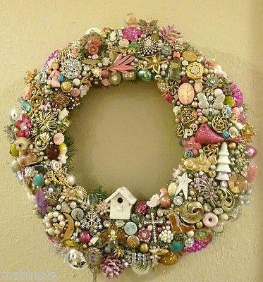 Vintage Jewelry Ornaments Rhinestone Wreath Cluster Earrings Brooch Lot Pink | eBay