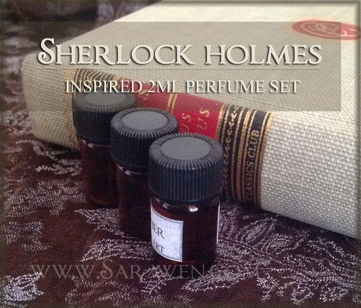 Five 2ml (.068 oz) mini amber bottles of my Sherlock Holmes- inspired scents! The perfumes are housed in a screw-top amber bottle with a dropper top, and packaged carefully, hand-wrapped in gift tissue paper. The scents: LOGICAL DEDUCTION - Sophisticated notes of bay rum, Earl Grey tea, and tobacco, with a hint of leather and dark chocolate. This is a unisex fragrance inspired by Sherlock Holmes, and is reminiscent of a gentleman's Victorian parlour. Main notes: tobacco, black tea, bergamot…