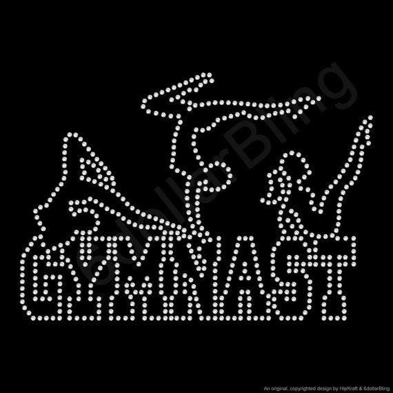 Gymnastic glitter iron on applique gymnast iron on