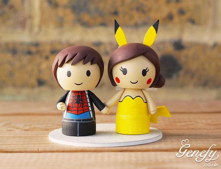 Spiderman groom + Pikachu bride wedding cake topper.  https://www.facebook.com/genefyplayground