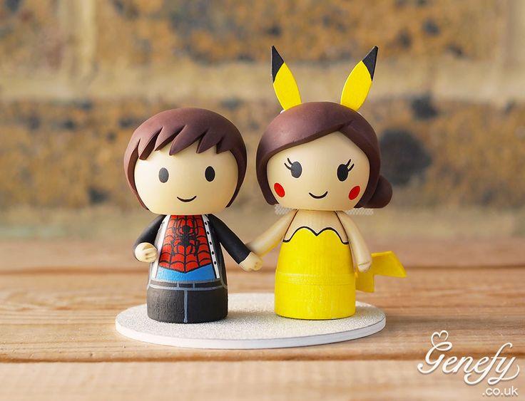 Spiderman groom + Pikachu bride wedding cake topper.  https://www.facebook.com/genefyplayground