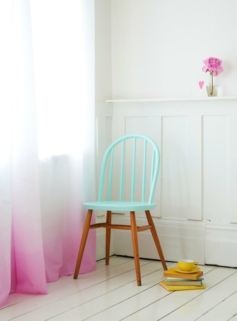 Creative wooden chair painted, curtains and painted floors.... Perfect