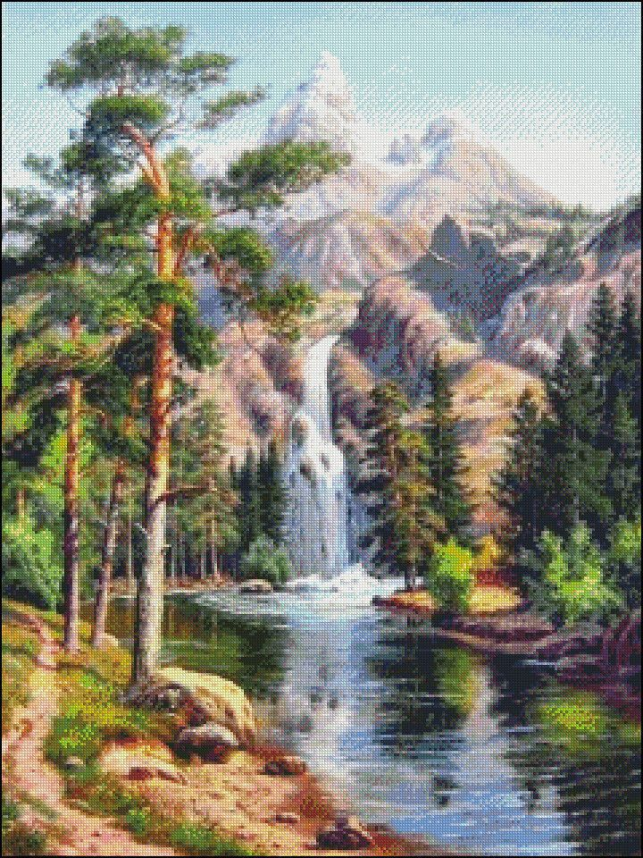 Needlework Crafts Embroidery Diy Counted Cross Stitch Kit Waterfall Mountains